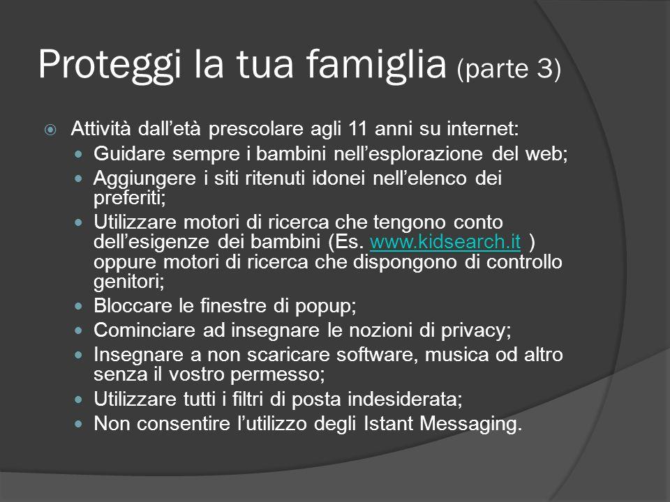 Proteggi la tua famiglia (parte 3) Attività dalletà prescolare agli 11 anni su internet: Guidare sempre i bambini nellesplorazione del web; Aggiungere