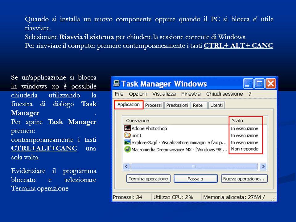 Se un applicazione si blocca in windows xp è possibile chiuderla utilizzando la finestra di dialogo Task Manager.