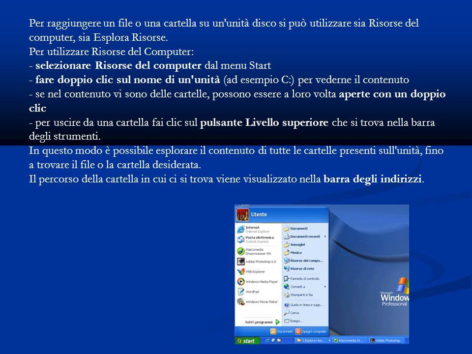 Risorse del computer, dal Menu Start oppure con un doppio click sull icona presente sul desktop Esplora risorse, Start, Tutti i programmi - Accessori.