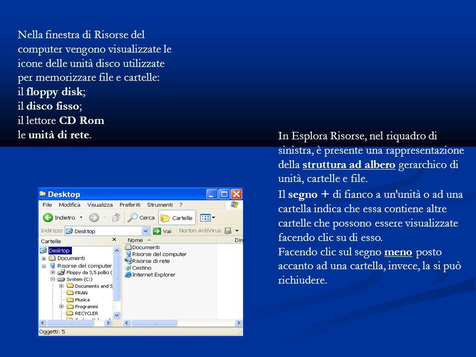 Nella finestra di Risorse del computer vengono visualizzate le icone delle unità disco utilizzate per memorizzare file e cartelle: il floppy disk; il disco fisso; il lettore CD Rom le unità di rete.