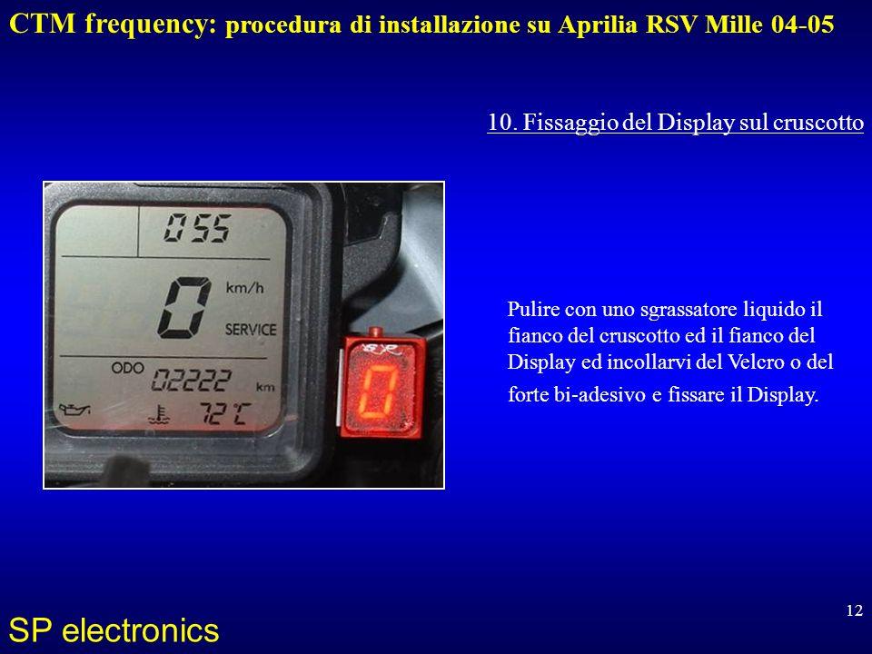 CTM frequency: procedura di installazione su Aprilia RSV Mille 04-05 SP electronics 12 10. Fissaggio del Display sul cruscotto Pulire con uno sgrassat