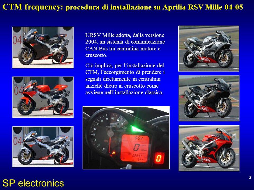 CTM frequency: procedura di installazione su Aprilia RSV Mille 04-05 SP electronics 3 LRSV Mille adotta, dalla versione 2004, un sistema di comunicazione CAN-Bus tra centralina motore e cruscotto.