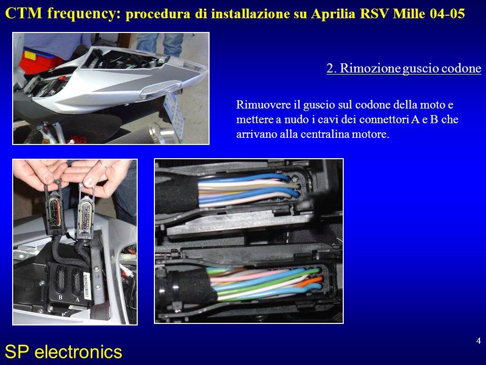 CTM frequency: procedura di installazione su Aprilia RSV Mille 04-05 SP electronics 5 Ecco laccorgimento da seguire per causa del CAN-Bus: far passare un cavo a 5 poli partendo dalla zona della centralina elettronica della moto alla zona dietro il cruscotto, dove va installato il CTM.