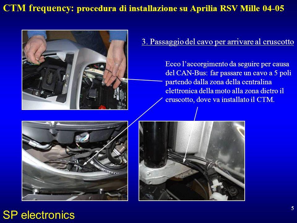 CTM frequency: procedura di installazione su Aprilia RSV Mille 04-05 SP electronics 5 Ecco laccorgimento da seguire per causa del CAN-Bus: far passare