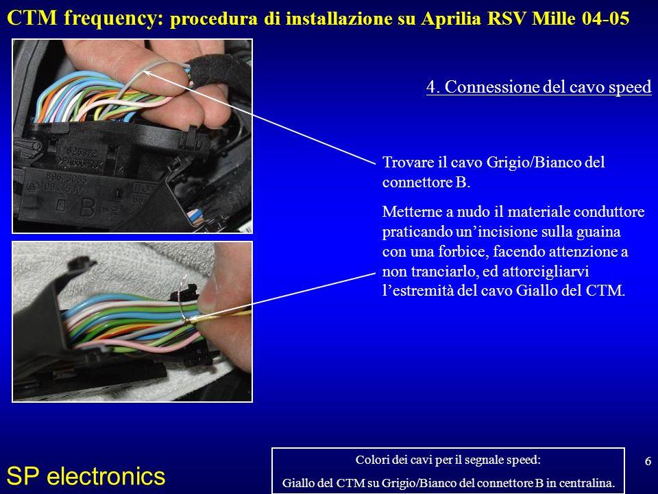 CTM frequency: procedura di installazione su Aprilia RSV Mille 04-05 SP electronics 6 4. Connessione del cavo speed Trovare il cavo Grigio/Bianco del