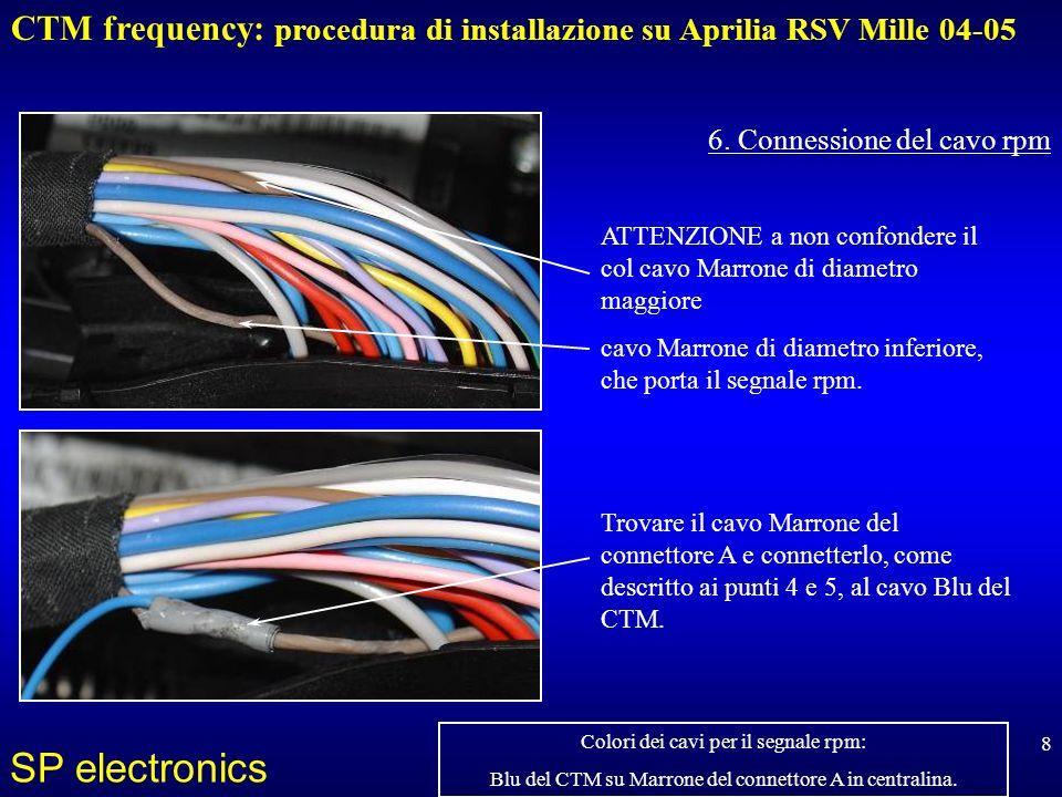 CTM frequency: procedura di installazione su Aprilia RSV Mille 04-05 SP electronics 8 6. Connessione del cavo rpm Trovare il cavo Marrone del connetto