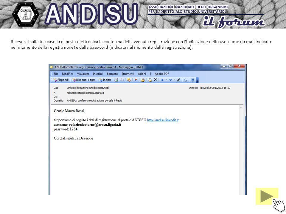 Riceverai sulla tua casella di posta elettronica la conferma dellavvenuta registrazione con lindicazione dello username (la mail indicata nel momento