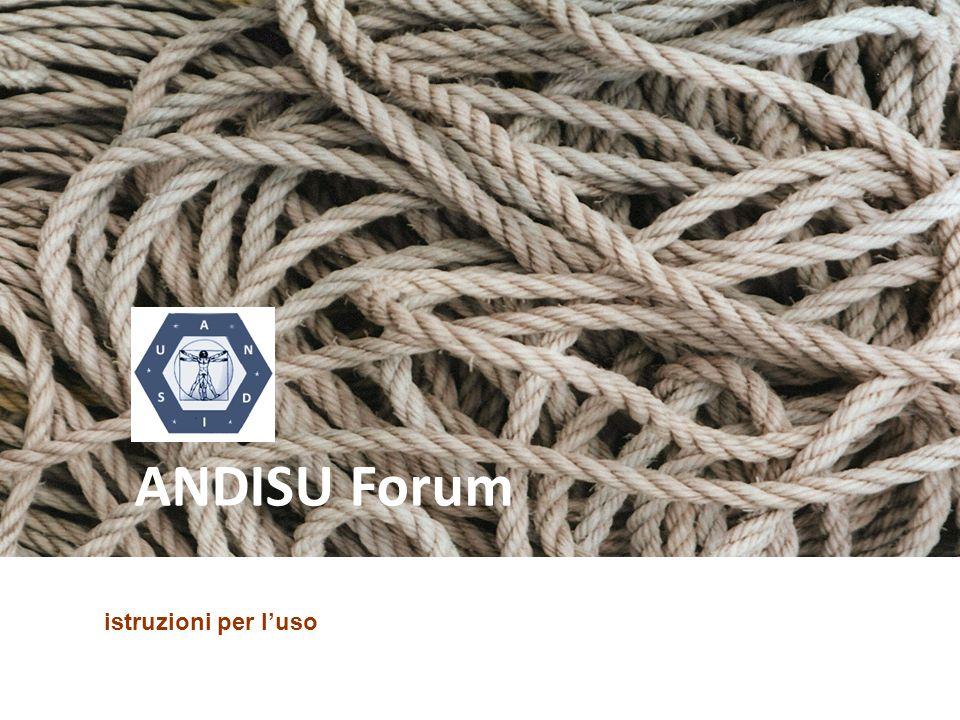 Nel forum di ANDISU trovate tre ambiti distinti: la home page, la messaggistica, il forum vero e proprio