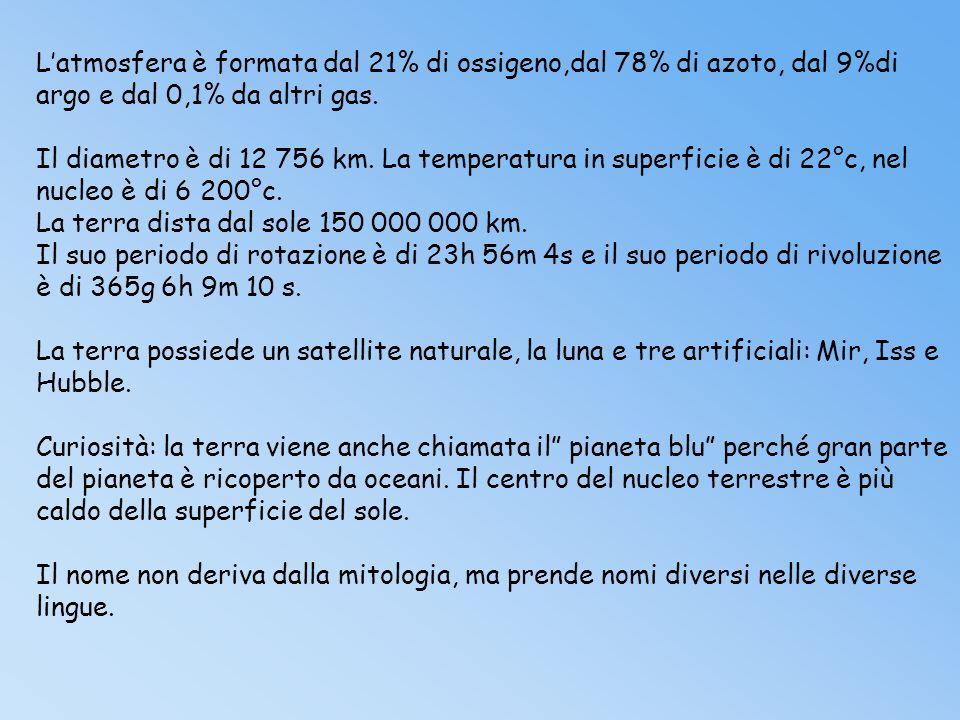 Latmosfera è formata dal 21% di ossigeno,dal 78% di azoto, dal 9%di argo e dal 0,1% da altri gas.