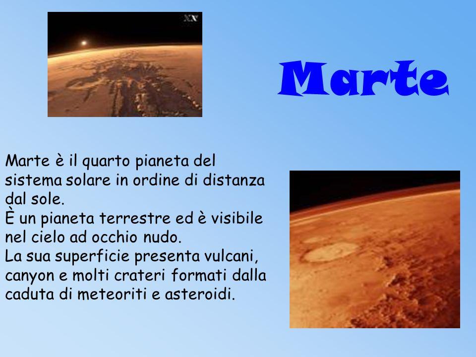 Marte Marte è il quarto pianeta del sistema solare in ordine di distanza dal sole.