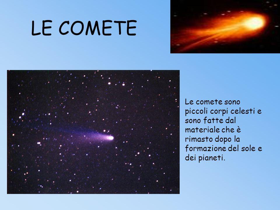 LE COMETE Le comete sono piccoli corpi celesti e sono fatte dal materiale che è rimasto dopo la formazione del sole e dei pianeti.