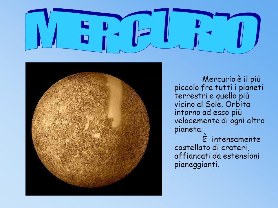 Non ha atmosfera.La temperatura è di 400°c. Mercurio dista dal Sole 58 000 000 km.