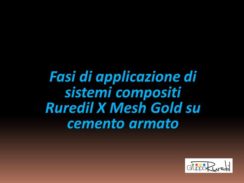 Applicazione del Sistema di rinforzo Ruredil X MESH GOLD su superfici in cemento armato idonee Operazione di applicazione su pilastri e travi