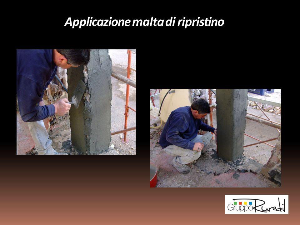 Applicazione del Sistema di rinforzo Ruredil X MESH GOLD su superfici in cemento armato idonee Operazione di smussatura degli angoli dei pilastri e delle travi