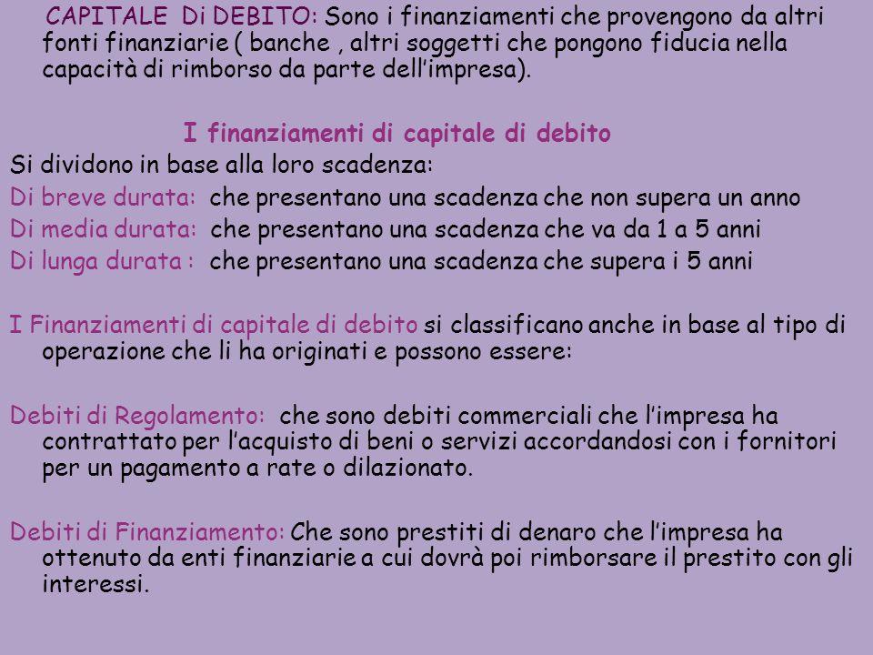 CAPITALE Di DEBITO: Sono i finanziamenti che provengono da altri fonti finanziarie ( banche, altri soggetti che pongono fiducia nella capacità di rimborso da parte dellimpresa).