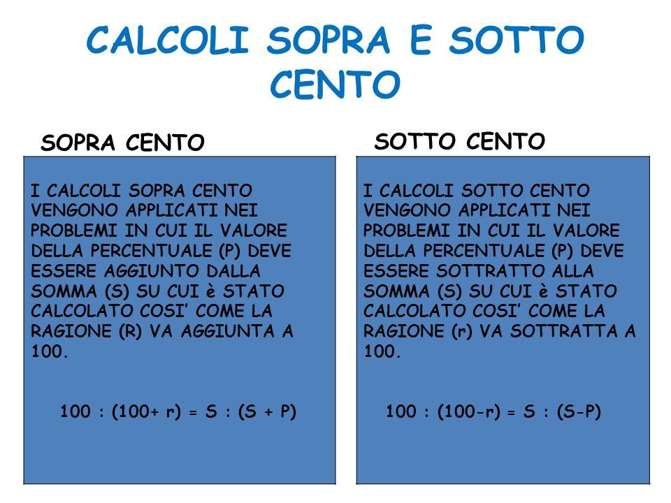 CALCOLI SOPRA E SOTTO CENTO SOPRA CENTO I calcoli sopra cento vengono applicati nei problemi in cui il valore percentuale totale (P) deve essere aggiunto alla somma (S), sulla quale è stato calcolato, così come la ragione percentuale (r) va aggiunta a 100.