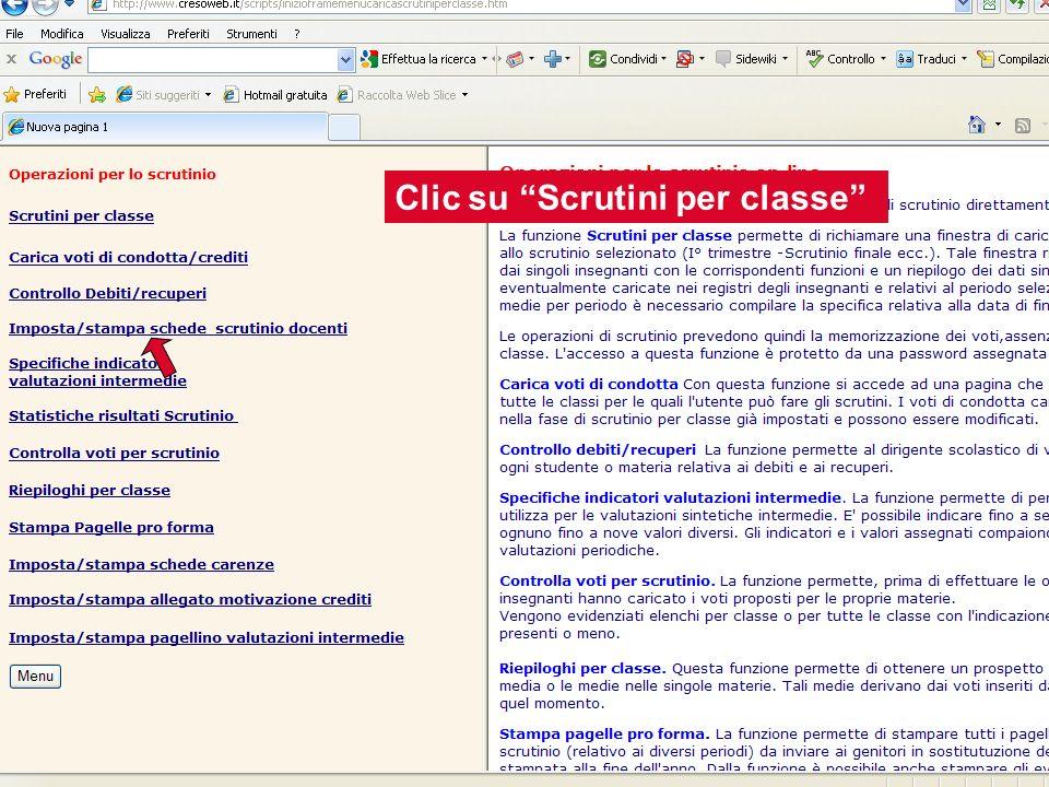 Inserire la password di servizio contenuta nella busta Selezionare la classe Clic su Val.
