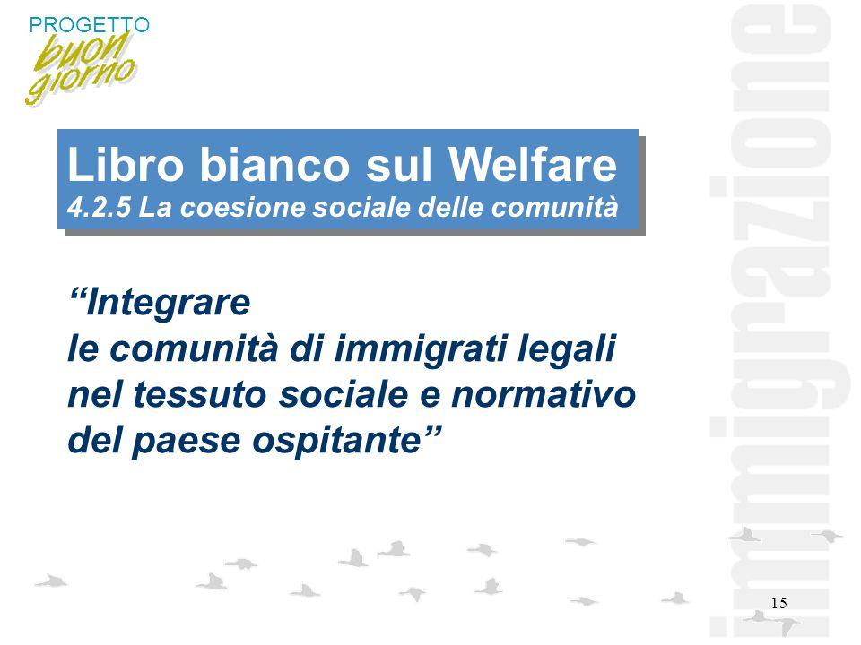 15 Libro bianco sul Welfare 4.2.5 La coesione sociale delle comunità Integrare le comunità di immigrati legali nel tessuto sociale e normativo del pae