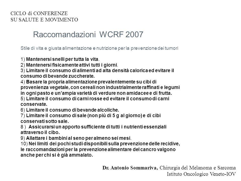 CICLO di CONFERENZE SU SALUTE E MOVIMENTO Dr.