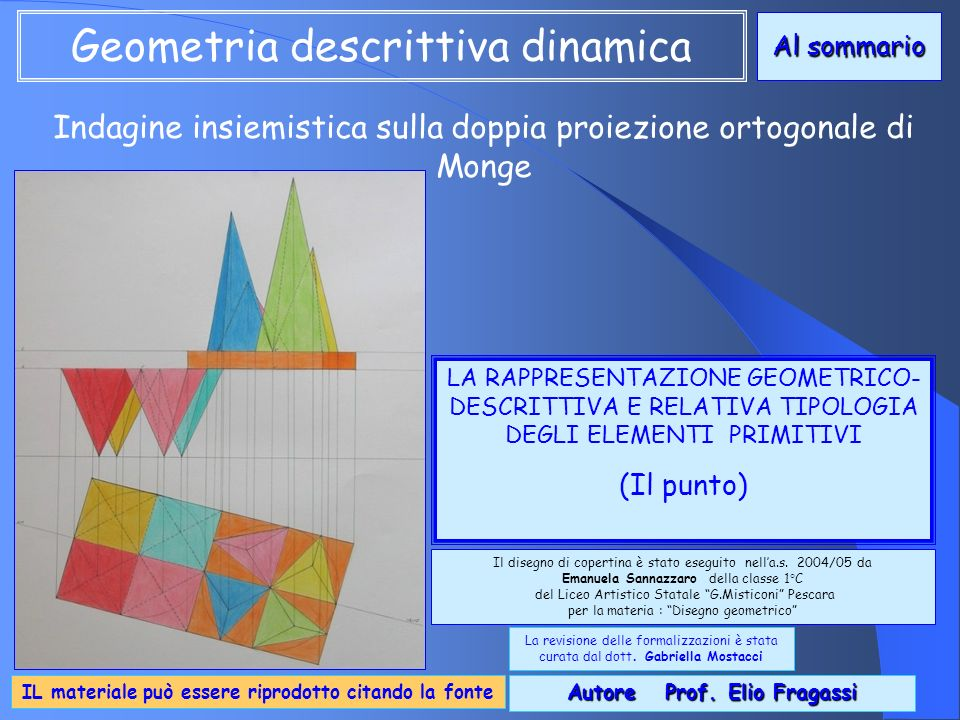 Indagine insiemistica sulla doppia proiezione ortogonale di Monge LA RAPPRESENTAZIONE GEOMETRICO- DESCRITTIVA E RELATIVA TIPOLOGIA DEGLI ELEMENTI PRIM