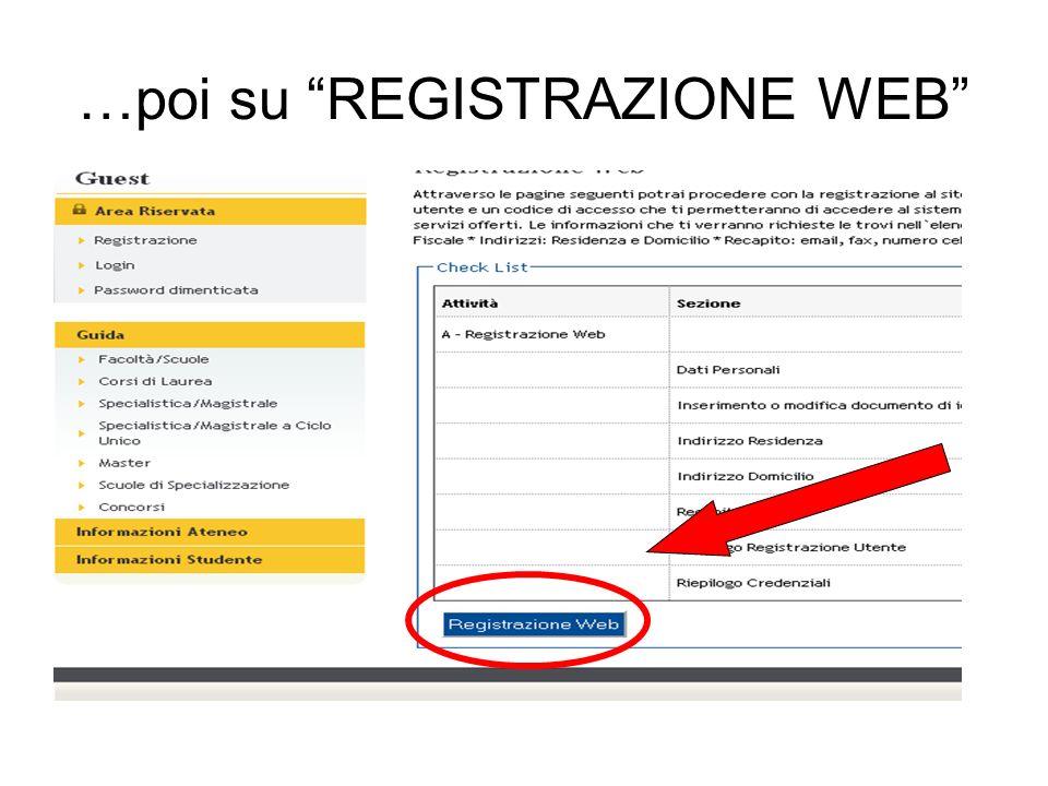 …poi su REGISTRAZIONE WEB