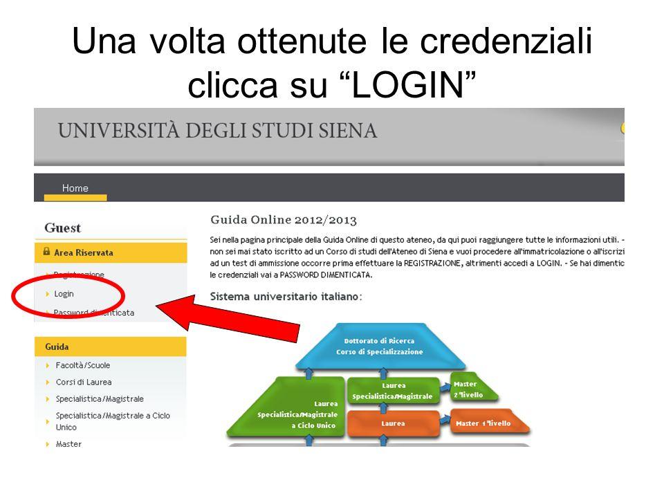 Una volta ottenute le credenziali clicca su LOGIN