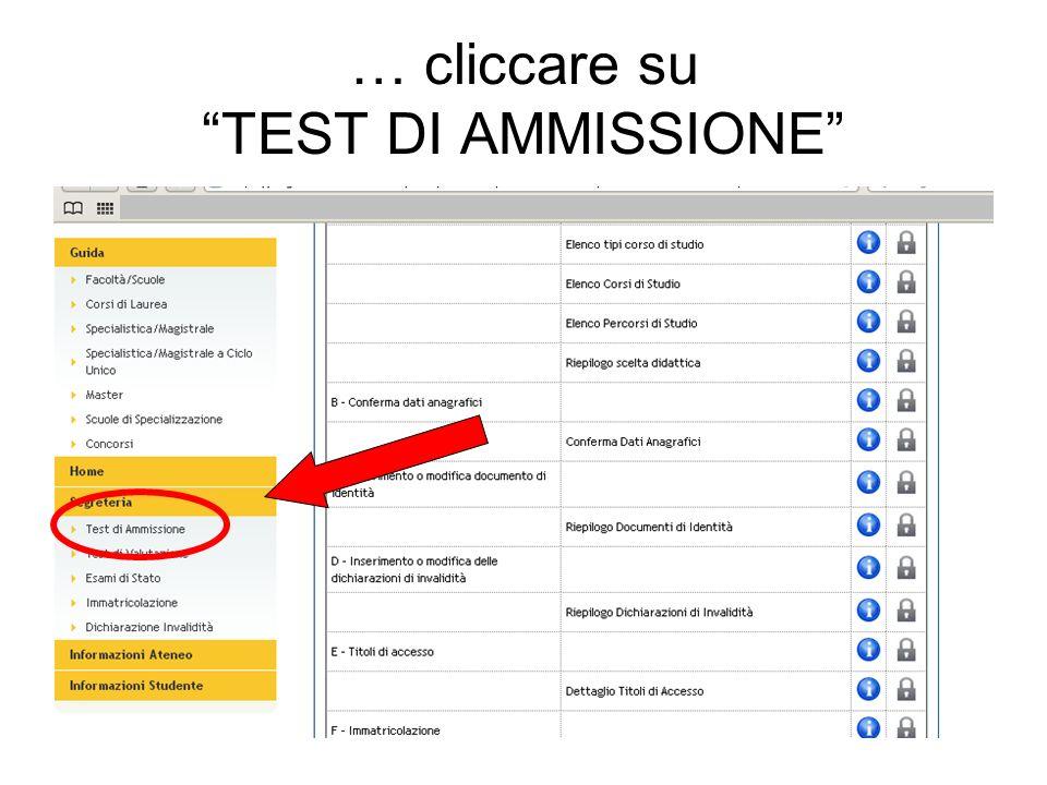 … cliccare su TEST DI AMMISSIONE
