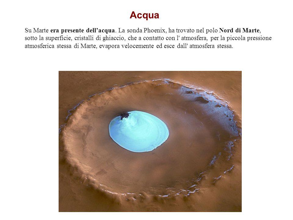 Acqua Su Marte era presente dellacqua. La sonda Phoenix, ha trovato nel polo Nord di Marte, sotto la superficie, cristalli di ghiaccio, che a contatto