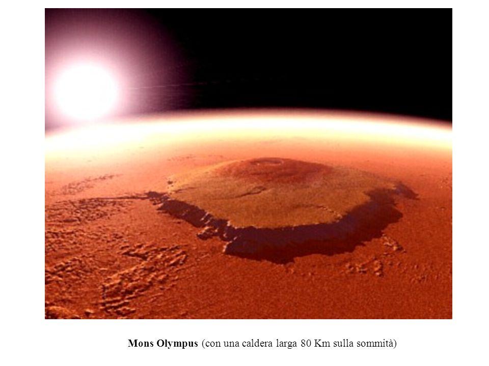 Mons Olympus (con una caldera larga 80 Km sulla sommità)