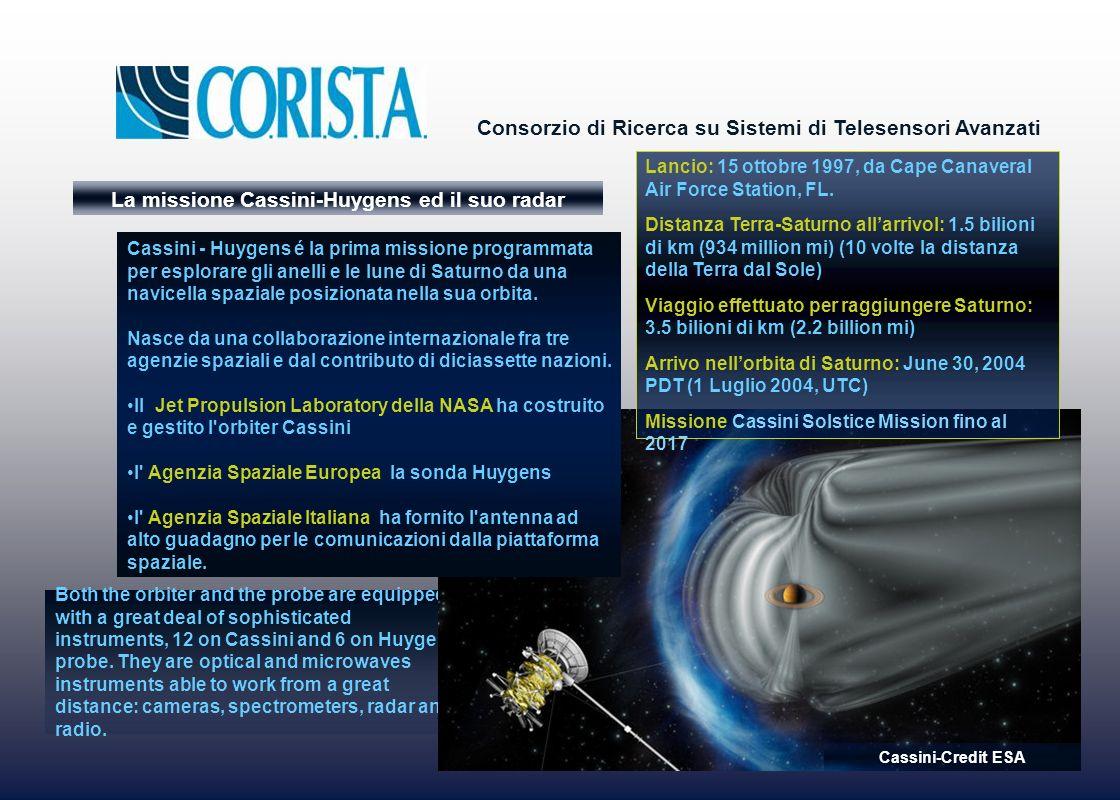 Consorzio di Ricerca su Sistemi di Telesensori Avanzati La missione Cassini-Huygens ed il suo radar Both the orbiter and the probe are equipped with a great deal of sophisticated instruments, 12 on Cassini and 6 on Huygens probe.