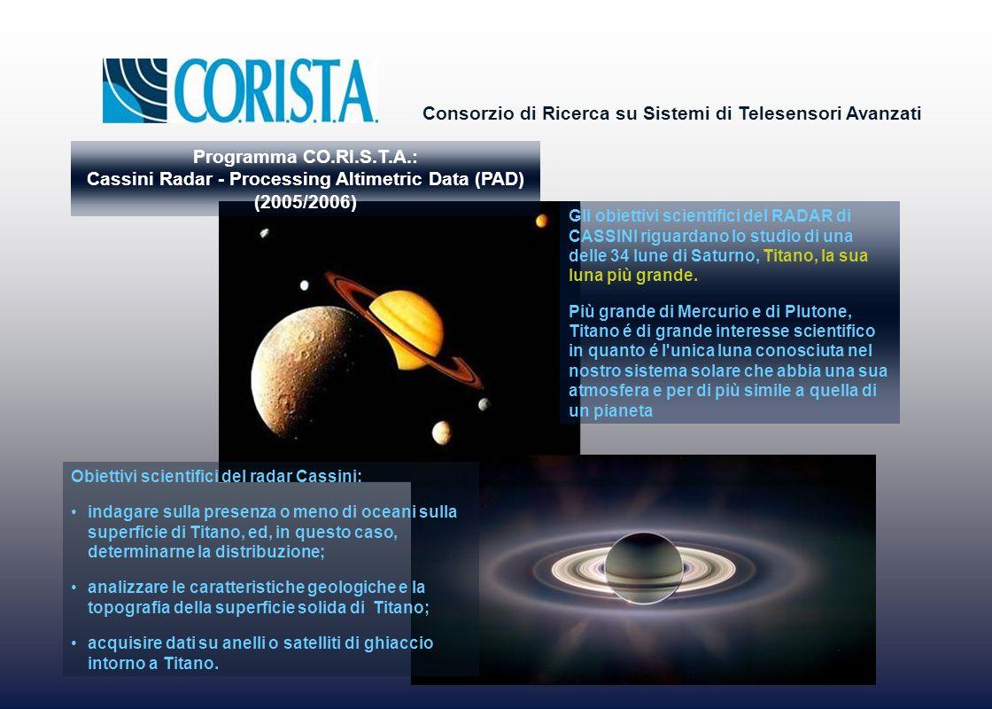 Consorzio di Ricerca su Sistemi di Telesensori Avanzati Obiettivi scientifici del radar Cassini: indagare sulla presenza o meno di oceani sulla superf