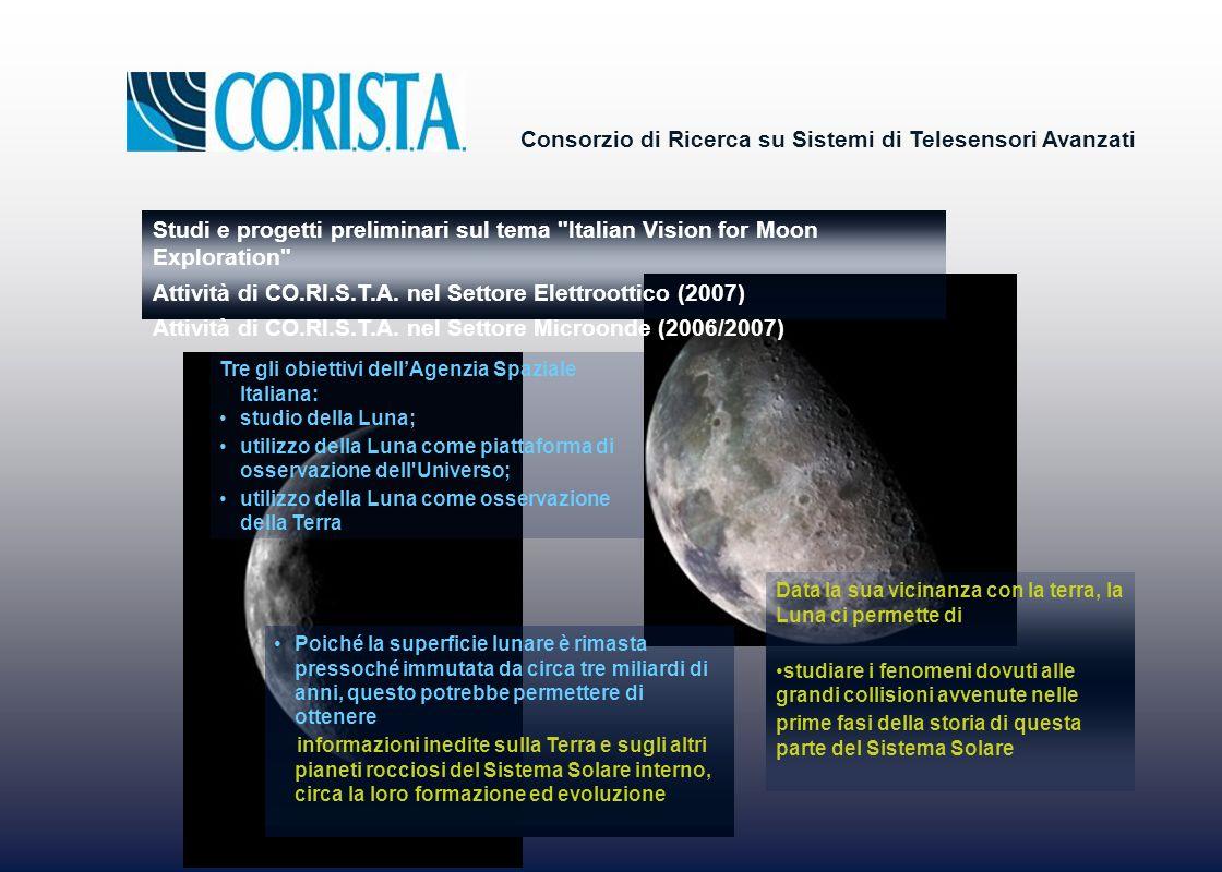 Consorzio di Ricerca su Sistemi di Telesensori Avanzati Data la sua vicinanza con la terra, la Luna ci permette di studiare i fenomeni dovuti alle grandi collisioni avvenute nelle prime fasi della storia di questa parte del Sistema Solare Poiché la superficie lunare è rimasta pressoché immutata da circa tre miliardi di anni, questo potrebbe permettere di ottenere informazioni inedite sulla Terra e sugli altri pianeti rocciosi del Sistema Solare interno, circa la loro formazione ed evoluzione Tre gli obiettivi dellAgenzia Spaziale Italiana: studio della Luna; utilizzo della Luna come piattaforma di osservazione dell Universo; utilizzo della Luna come osservazione della Terra Studi e progetti preliminari sul tema Italian Vision for Moon Exploration Attività di CO.RI.S.T.A.