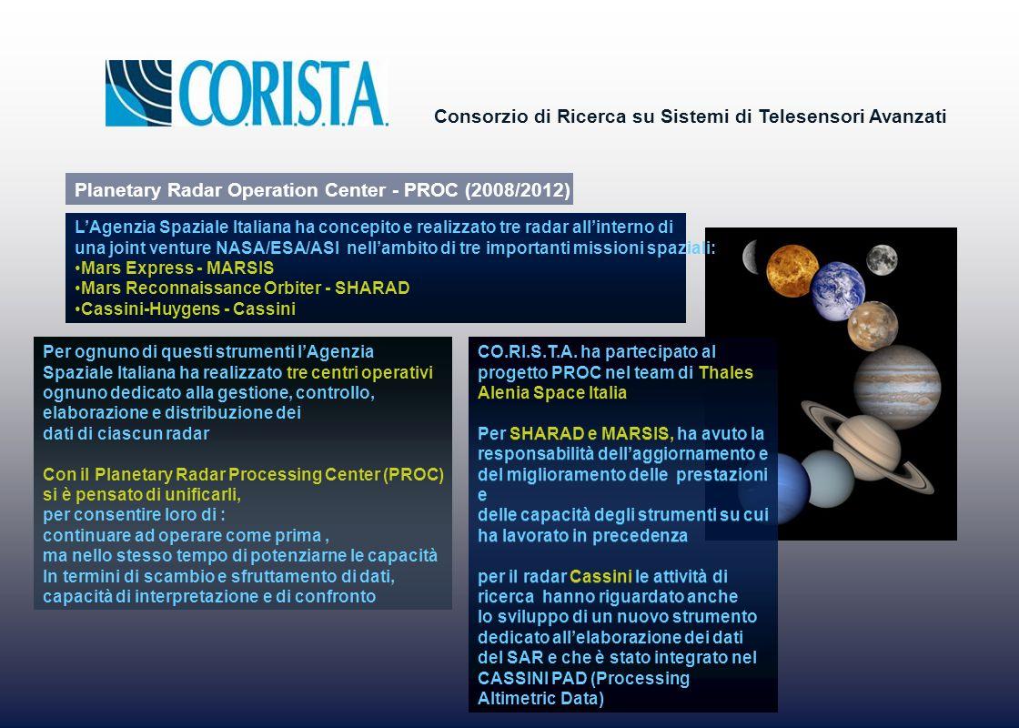 Consorzio di Ricerca su Sistemi di Telesensori Avanzati Per ognuno di questi strumenti lAgenzia Spaziale Italiana ha realizzato tre centri operativi o