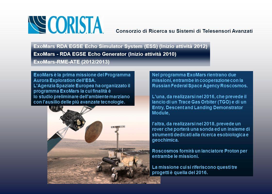 Consorzio di Ricerca su Sistemi di Telesensori Avanzati ExoMars RDA EGSE Echo Simulator System (ESS) (Inizio attività 2012) ExoMars - RDA EGSE Echo Generator (Inizio attività 2010) ExoMars-RME-ATE (2012/2013) ExoMars è la prima missione del Programma Aurora Exploration dell ESA.
