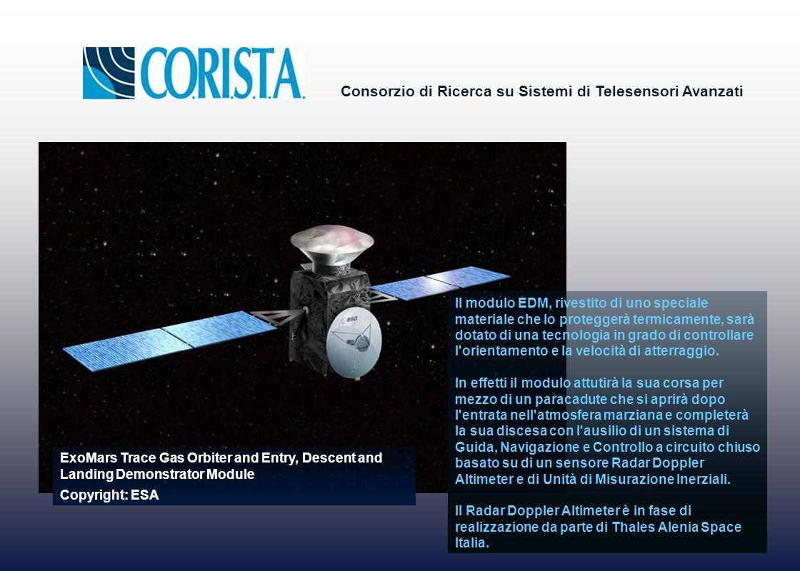 Consorzio di Ricerca su Sistemi di Telesensori Avanzati Il modulo EDM, rivestito di uno speciale materiale che lo proteggerà termicamente, sarà dotato di una tecnologia in grado di controllare l orientamento e la velocità di atterraggio.