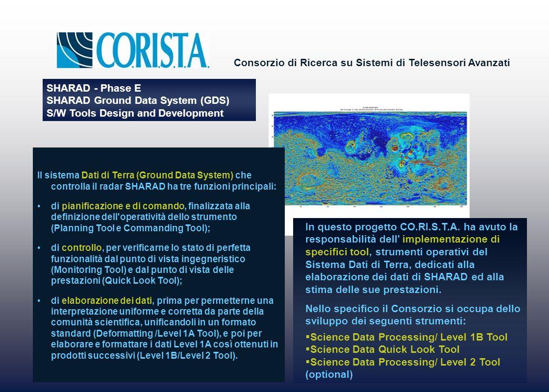 Consorzio di Ricerca su Sistemi di Telesensori Avanzati SHARAD - Phase E SHARAD Ground Data System (GDS) S/W Tools Design and Development In questo progetto CO.RI.S.T.A.