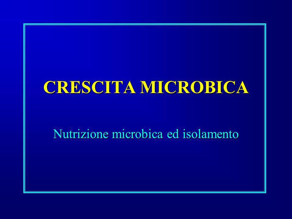 CRESCITA MICROBICA Nutrizione microbica ed isolamento