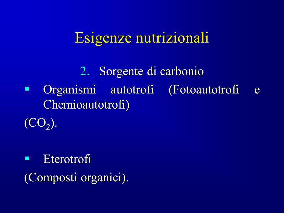 Esigenze nutrizionali 2.Sorgente di carbonio Organismi autotrofi (Fotoautotrofi e Chemioautotrofi) Organismi autotrofi (Fotoautotrofi e Chemioautotrof