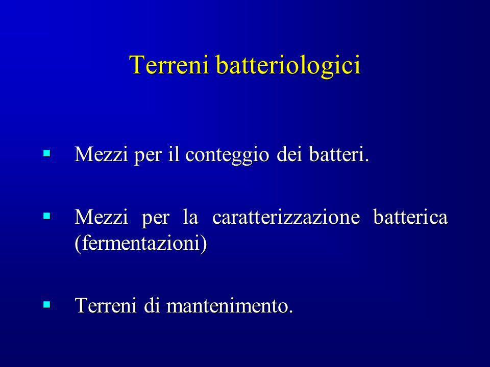 Terreni batteriologici Mezzi per il conteggio dei batteri. Mezzi per il conteggio dei batteri. Mezzi per la caratterizzazione batterica (fermentazioni