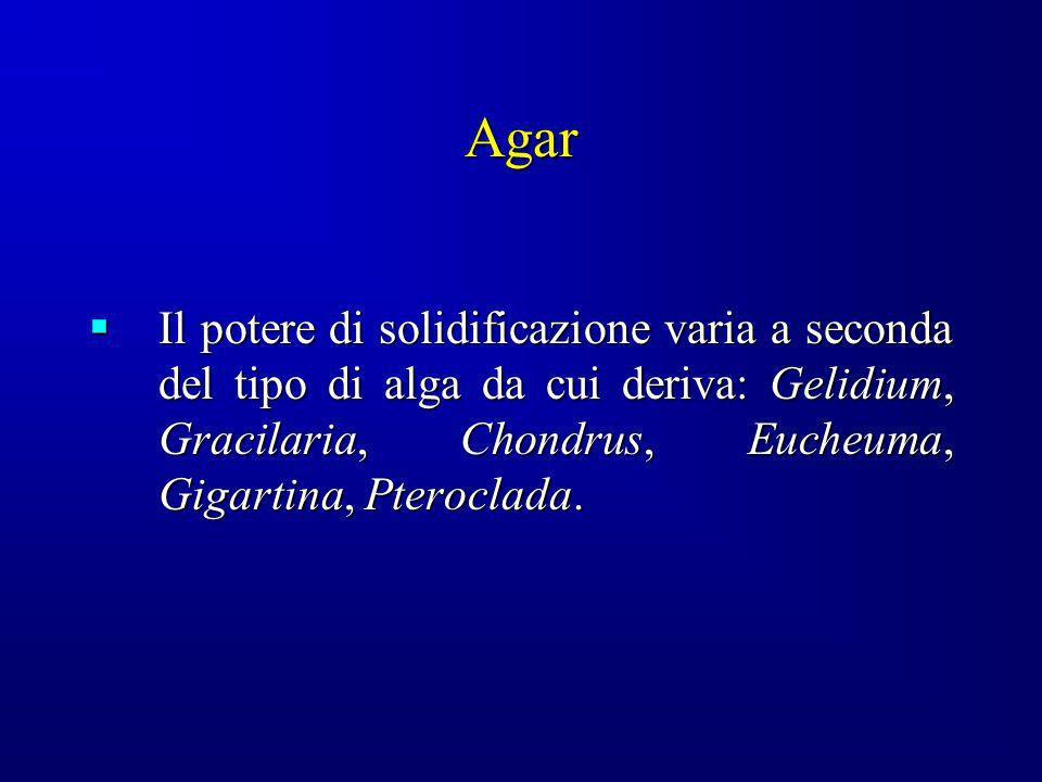 Agar Il potere di solidificazione varia a seconda del tipo di alga da cui deriva: Gelidium, Gracilaria, Chondrus, Eucheuma, Gigartina, Pteroclada. Il