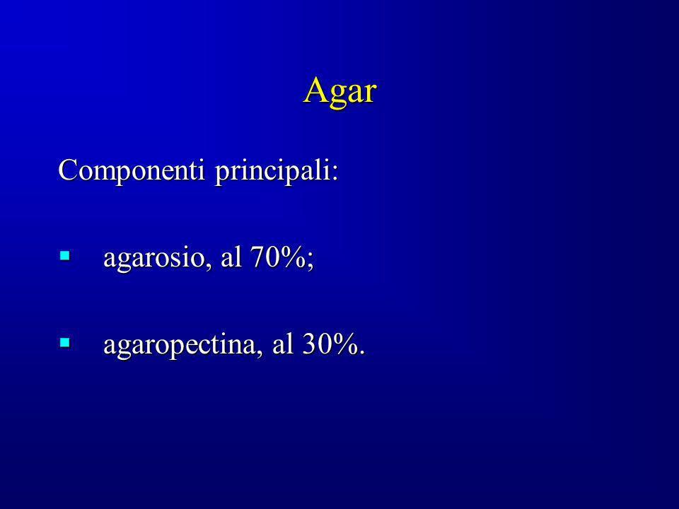 Agar Componenti principali: agarosio, al 70%; agarosio, al 70%; agaropectina, al 30%. agaropectina, al 30%.