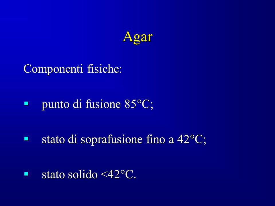 Agar Componenti fisiche: punto di fusione 85°C; punto di fusione 85°C; stato di soprafusione fino a 42°C; stato di soprafusione fino a 42°C; stato sol