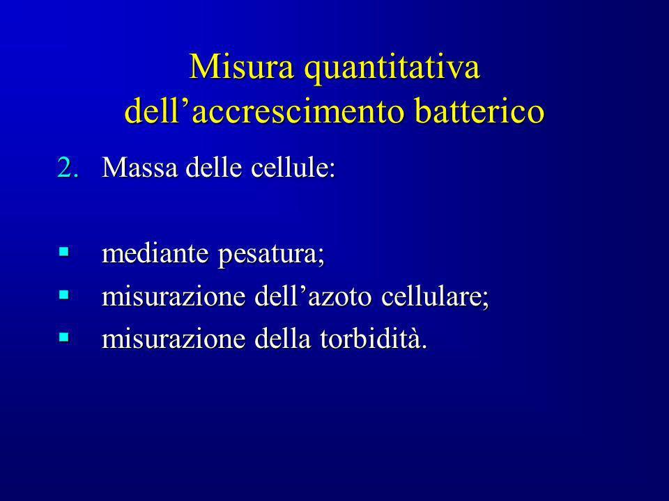 Misura quantitativa dellaccrescimento batterico 2.Massa delle cellule: mediante pesatura; mediante pesatura; misurazione dellazoto cellulare; misurazi