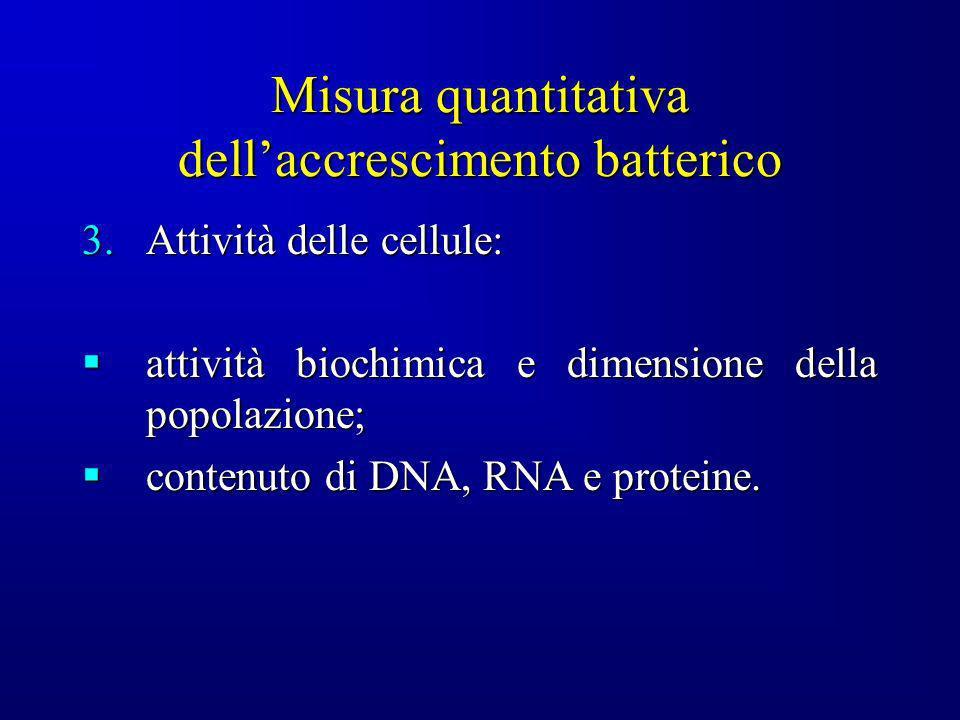 Misura quantitativa dellaccrescimento batterico 3.Attività delle cellule: attività biochimica e dimensione della popolazione; attività biochimica e di