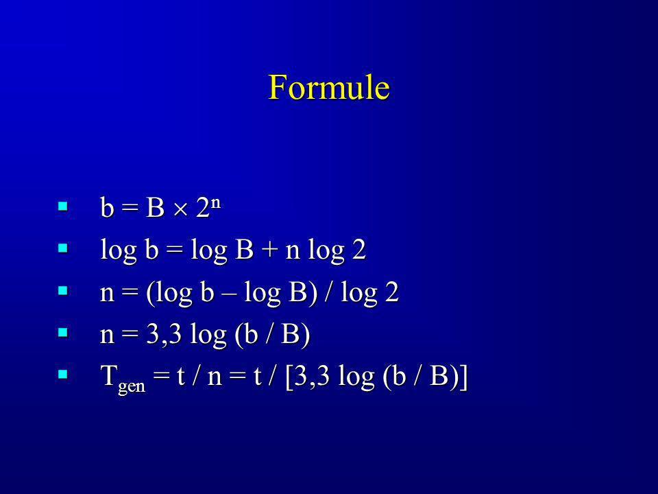 Formule b = B 2 n b = B 2 n log b = log B + n log 2 log b = log B + n log 2 n = (log b – log B) / log 2 n = (log b – log B) / log 2 n = 3,3 log (b / B