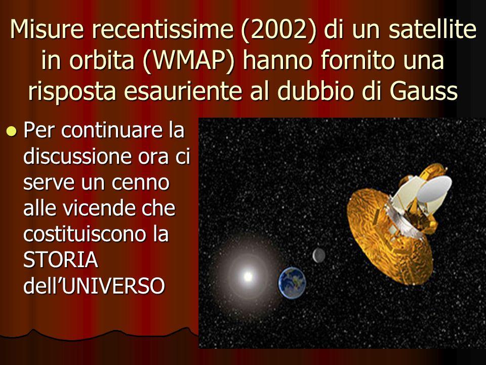Misure recentissime (2002) di un satellite in orbita (WMAP) hanno fornito una risposta esauriente al dubbio di Gauss Per continuare la discussione ora