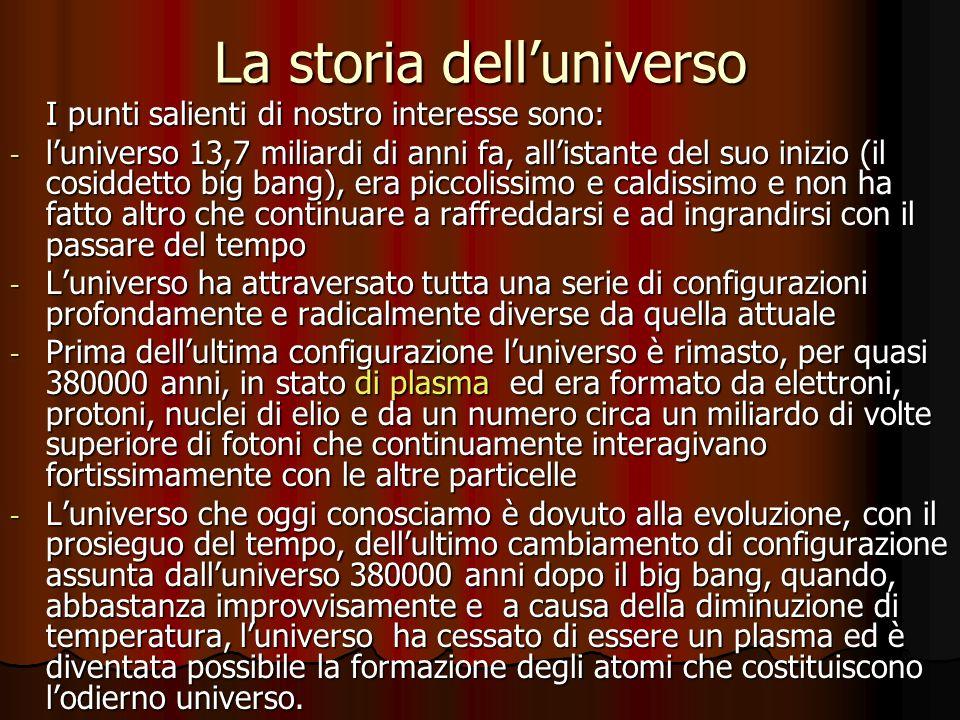 La storia delluniverso I punti salienti di nostro interesse sono: - luniverso 13,7 miliardi di anni fa, allistante del suo inizio (il cosiddetto big b