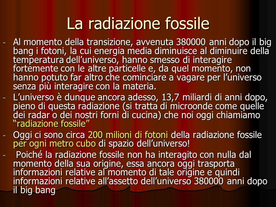 La radiazione fossile - Al momento della transizione, avvenuta 380000 anni dopo il big bang i fotoni, la cui energia media diminuisce al diminuire del