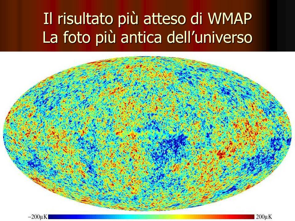 Il risultato più atteso di WMAP La foto più antica delluniverso Blu scuro = 2,725300 K ; rosso = 2,725700 K