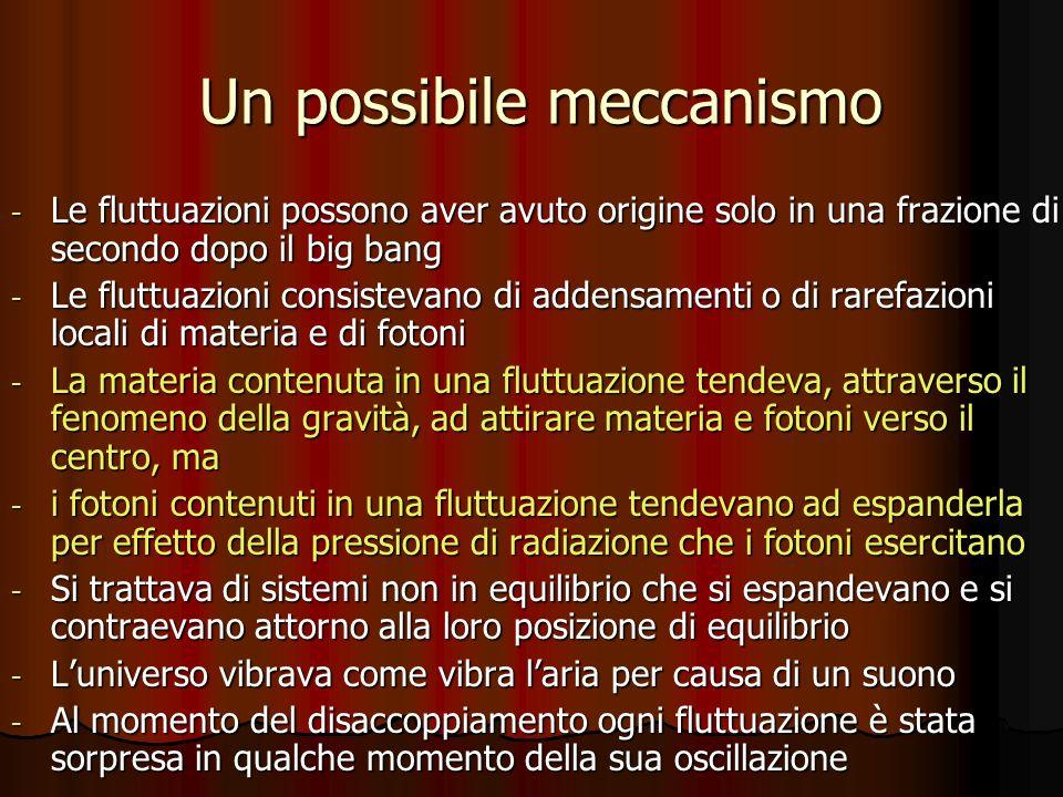 Un possibile meccanismo Un possibile meccanismo - Le fluttuazioni possono aver avuto origine solo in una frazione di secondo dopo il big bang - Le flu